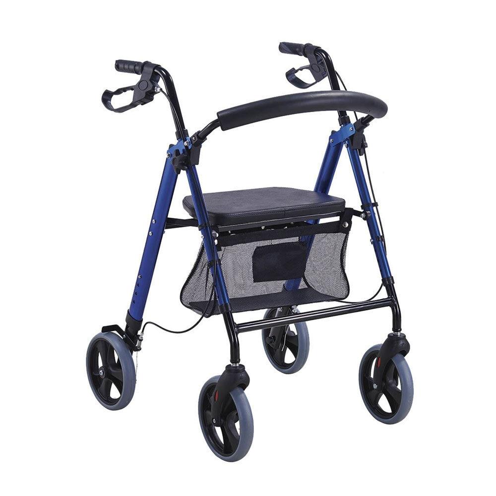 Andadera Rollator de Aluminio color azul. es facil de trasportar cuenta con 4 ruedas y frenos aciento acojinado y 6 niveles de altura