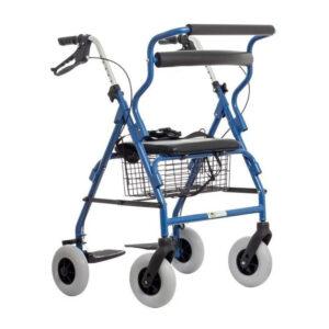 Andadera Rollator Híbrida de color azul con doble función silla de traslado y andadera con asiento y respaldo. Plegable,descansa pies, ruedas y canastilla.